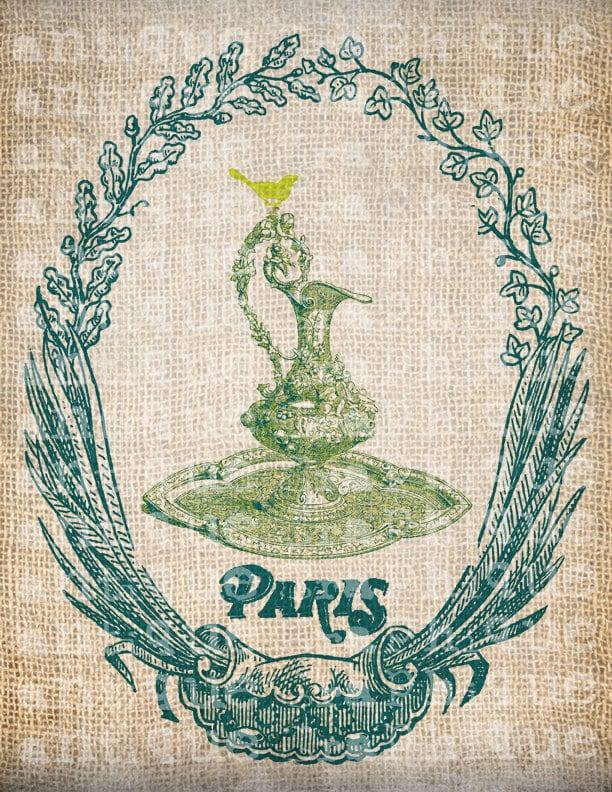 Antique AQUA French Frame Paris Pitcher Ornate Digital Download for Tea