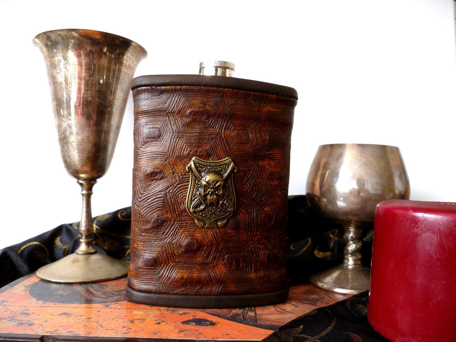 Unique Renaissance Pirate Leather Flask with Bronze Pirate Shield Emblem - jattreasury
