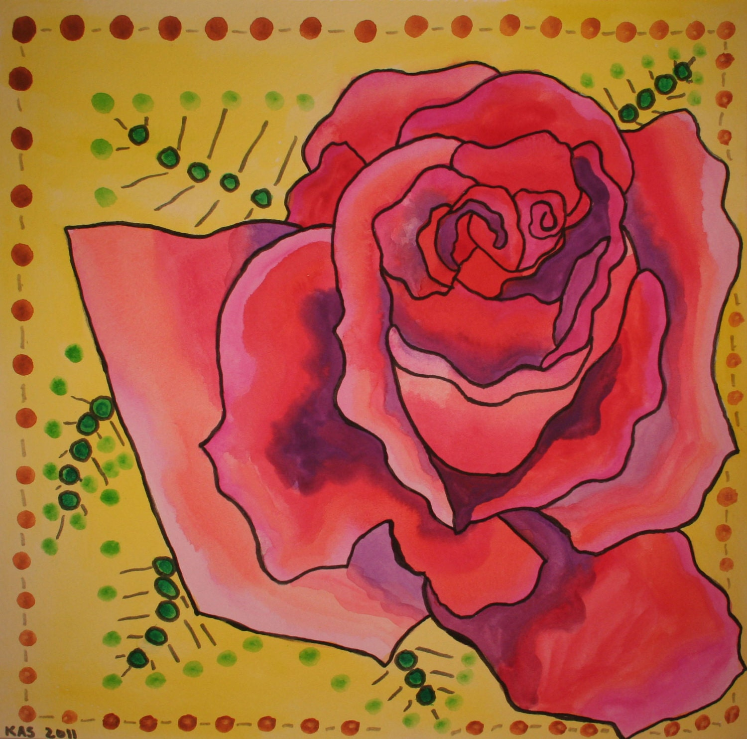 12x12 OOAK Watercolor Painting: Rose of Passion