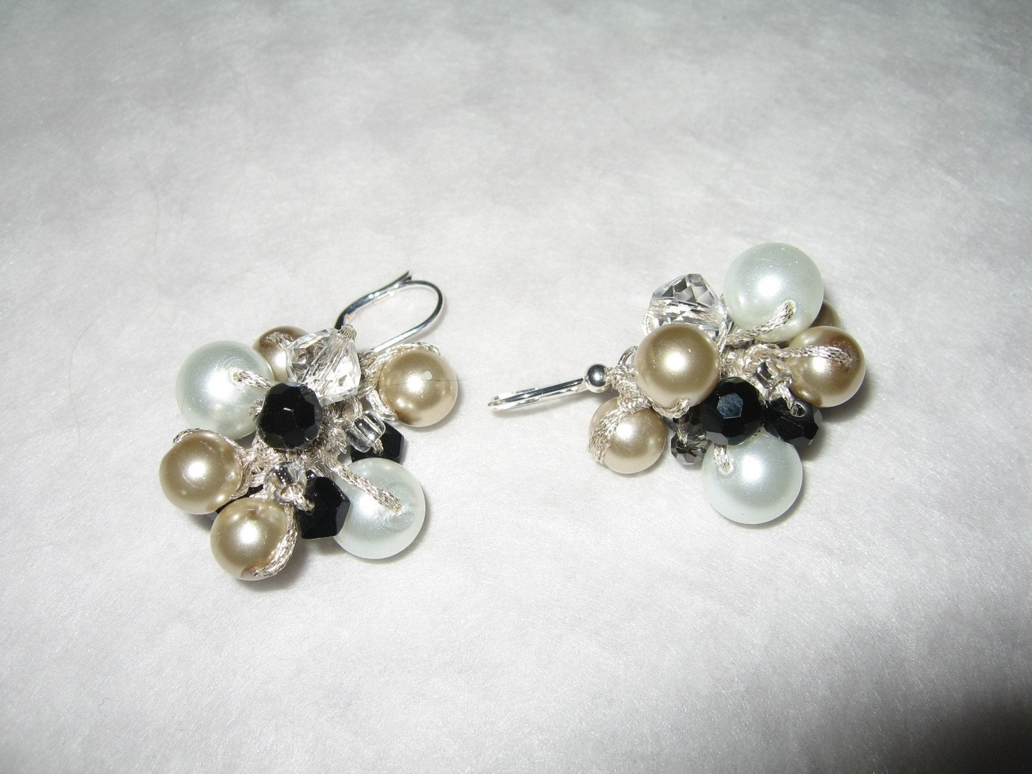 Black Tie  Affair, Cluster Bauble Hand Knit Earrings, Champagne, Soft White Pearl,  Smokey Quartz Crystal, unique Original Design