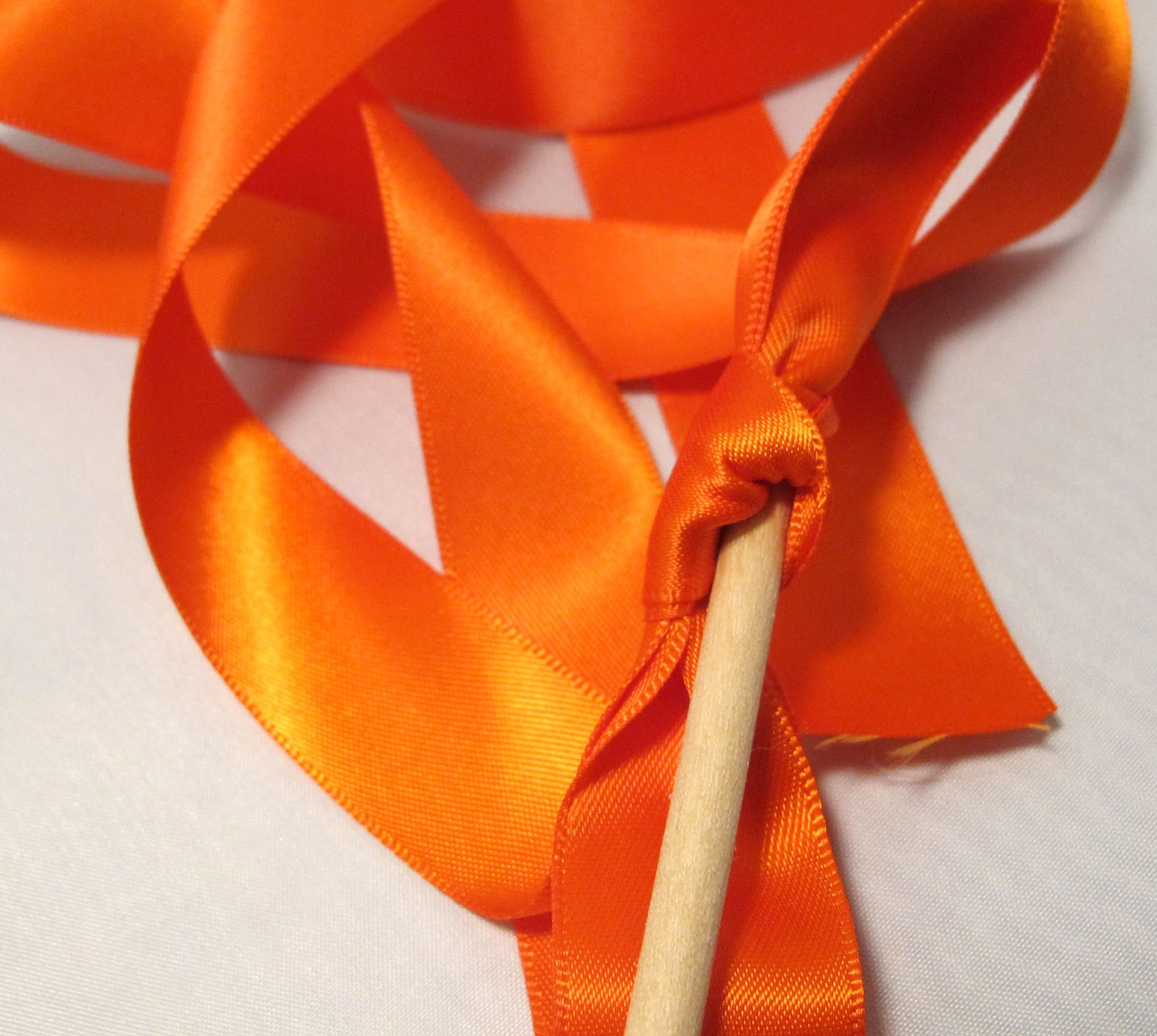 Tie the Knot - Satin Wedding Ribbon Wands - Custom Colors - Pack of 50 - Shown in Orange -