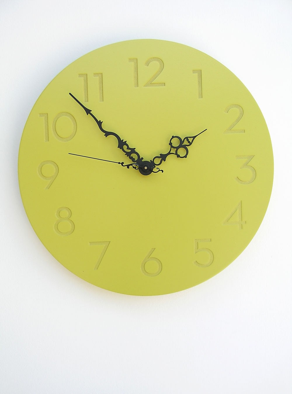 modern chartreuse clock WITH NUMBERS--the victorienne