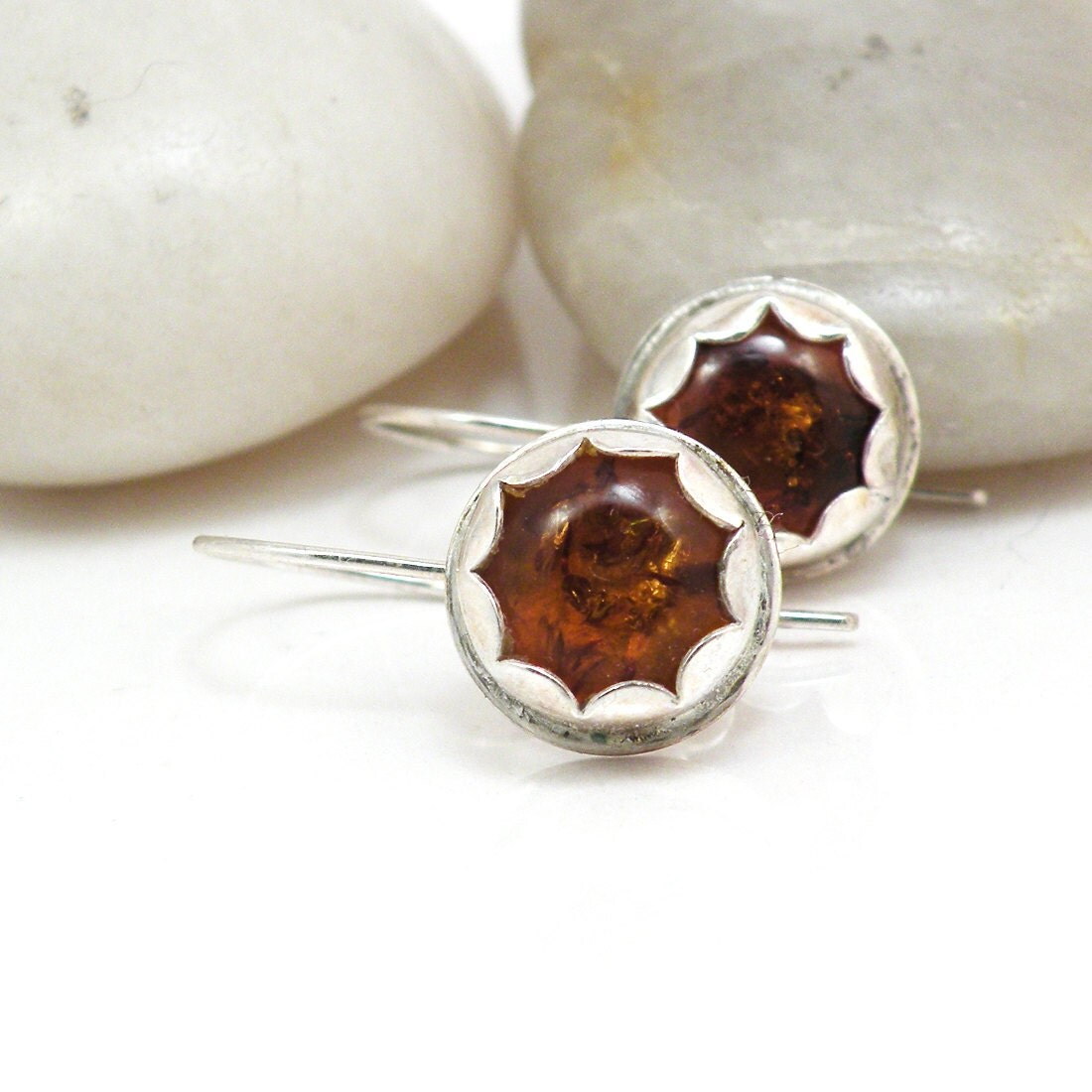 Amber Earrings on Amber Earrings Sterling Silver Flower Jewelry   Amber Blooms