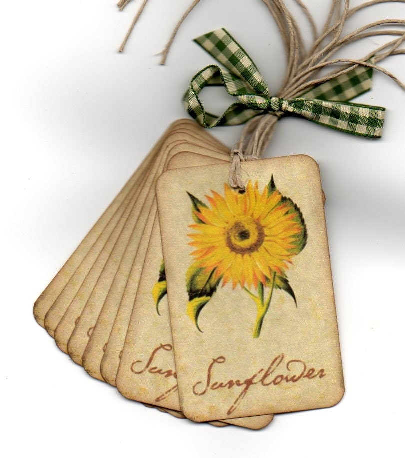 Gift Tags Favor Tags Hang Tags Place Cards Escort Tags Autumn Sunflower Vintage