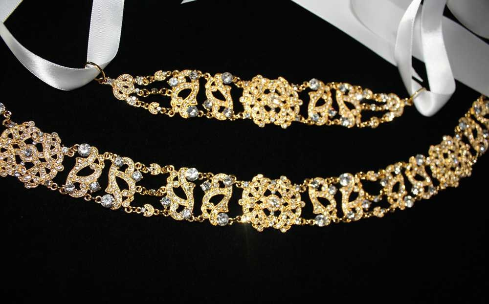 Antoinette - Gold Clear Crystals Rhinestones Bridal Belt with a Vintage Flair