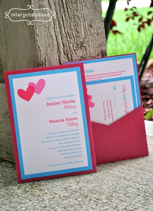 Clutch Pocket Wedding Invitation Set sample Double Hearts