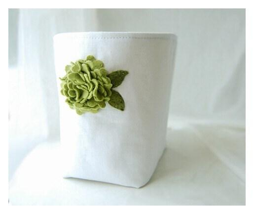 box white linen burlap green Hydrangea flower diaper caddy weddings decor Bin Wool felt Organizer Storage Basket  tagt team Gift Wrap