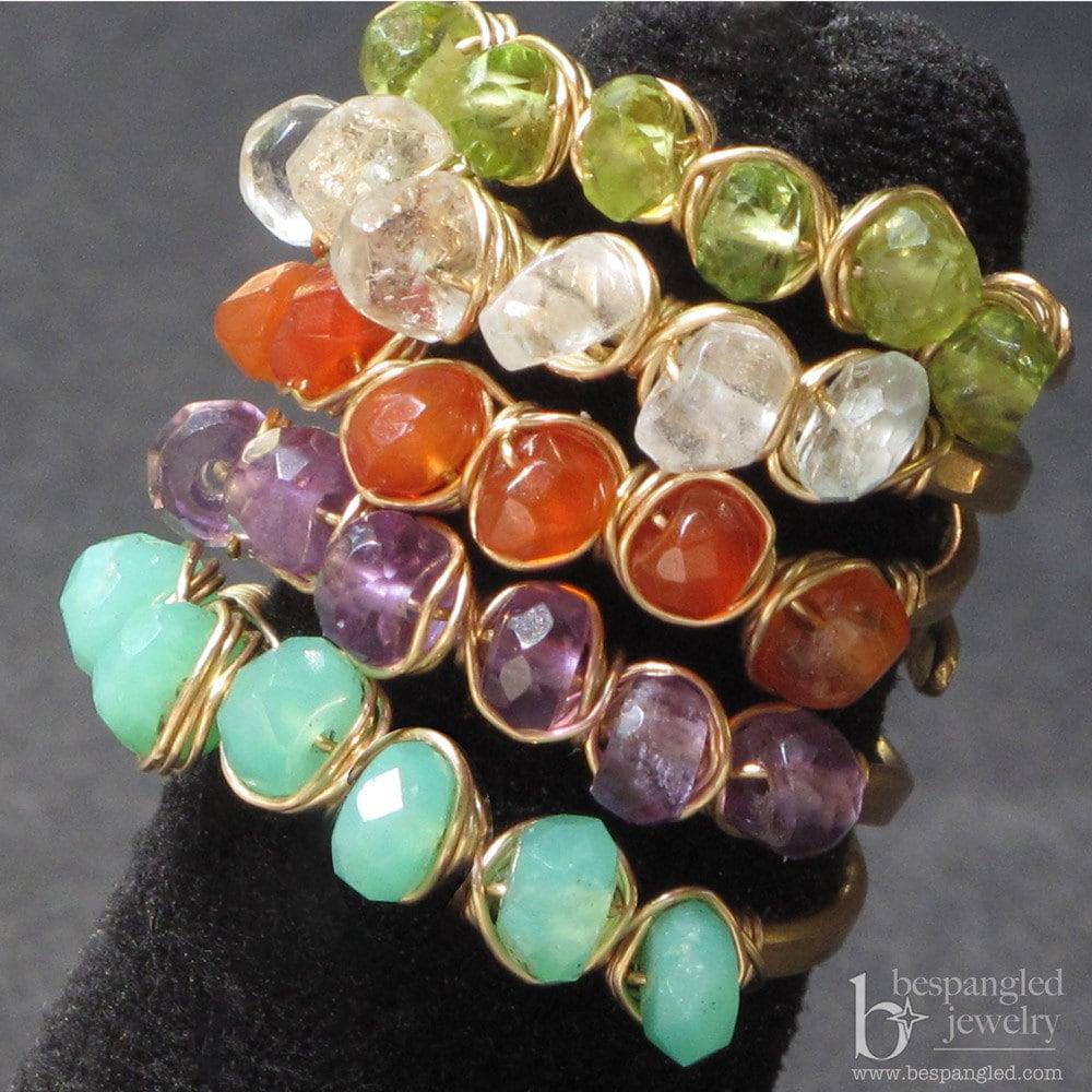 Gemstone Stacking Rings, adjustable size
