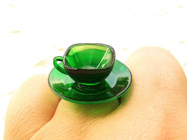 Kawaii Симпатичные японские кольца Открытый Чашка зеленого с блюдцем