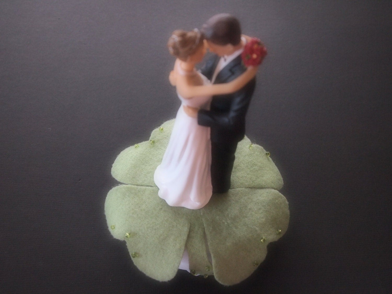 Wedding Cake Topper Green Four Leaf Clover Bride Groom