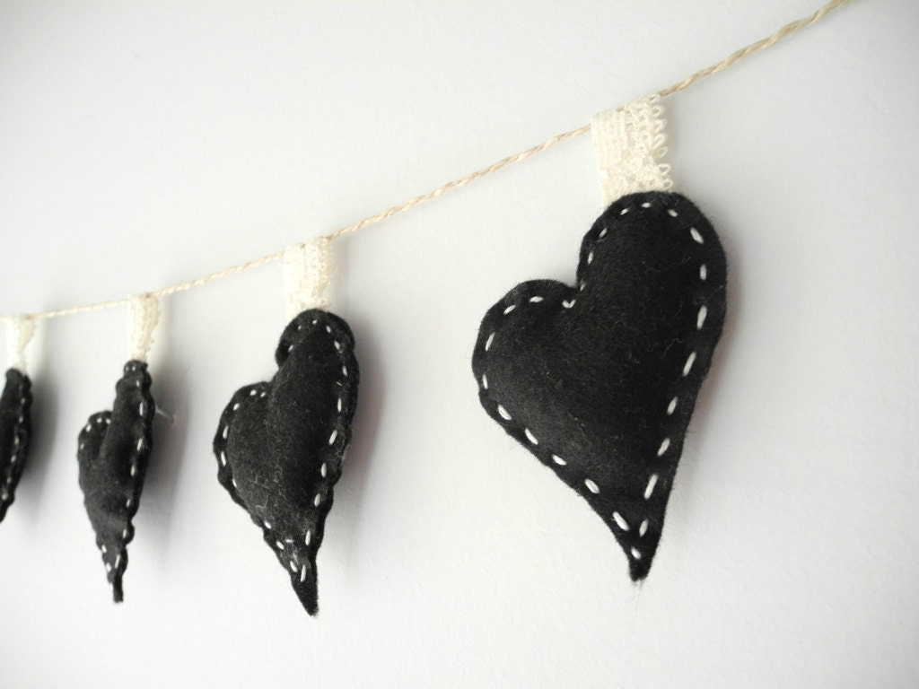 Black Felt Garland-Banner, party garland-black wedding decoration-home decor,love garland