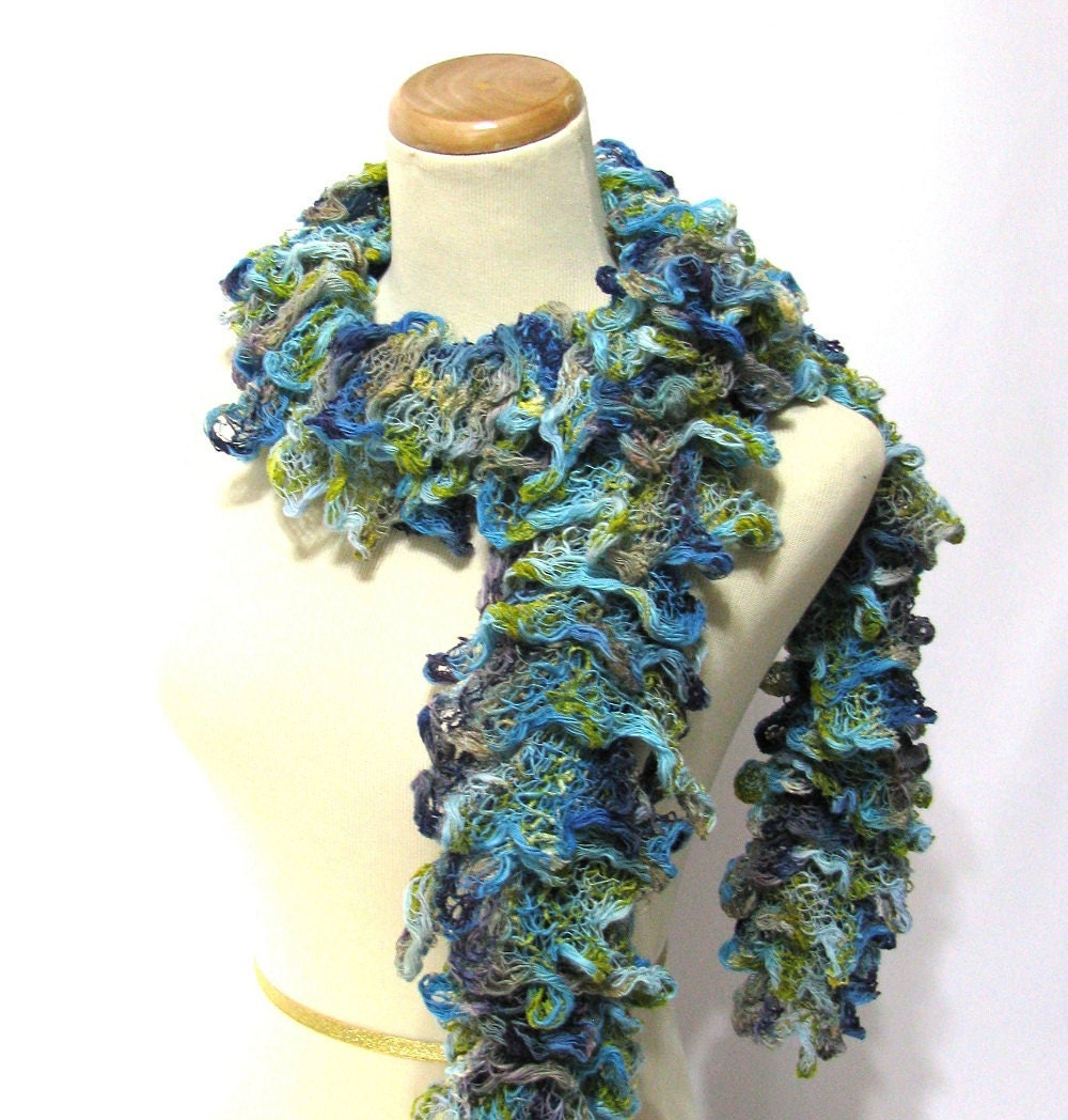 Hand Knit Ruffled Scarf - Turquoise Blue Chartreuse Green