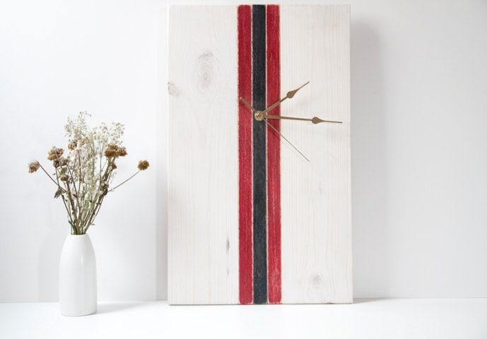 Mid Century Modern Clock Wooden, white, red, black - ArtGlamourSligo