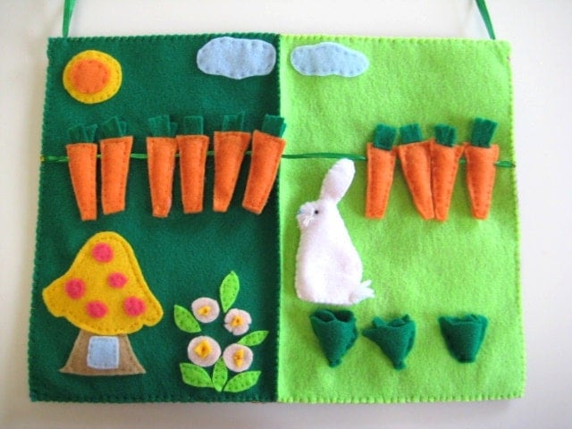 Bunny Quiet Book, Bunny Garden, Felt Board for Kindergarten and Preschool - WinterEma
