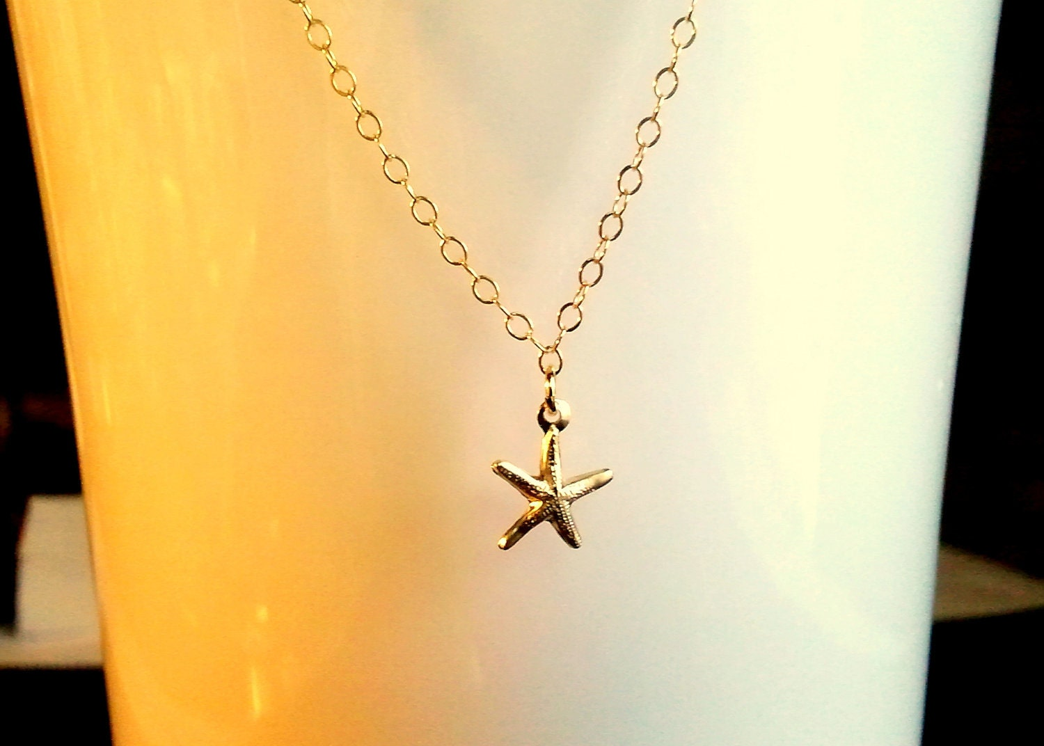 14k Gold Filled Tiny Starfish Charm Necklace - simple, modern, everyday jewelry