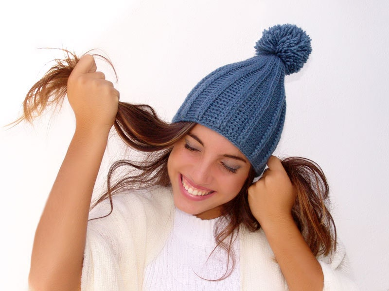 Winter warm  Pompom Hat, Crochet  Beanie, Men Women Unisex, Royal blue  Wool, Acrylic - Lasunka