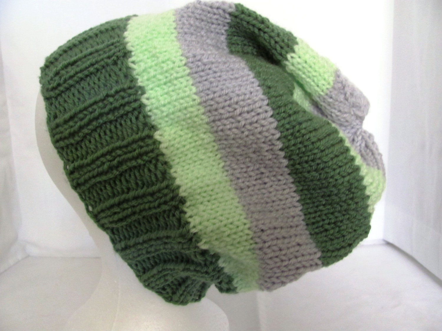 Knitted Scarf Pattern For Beginners : Slouch Hat Green and Gray Stripes by AspenLeavesKnitting on Etsy