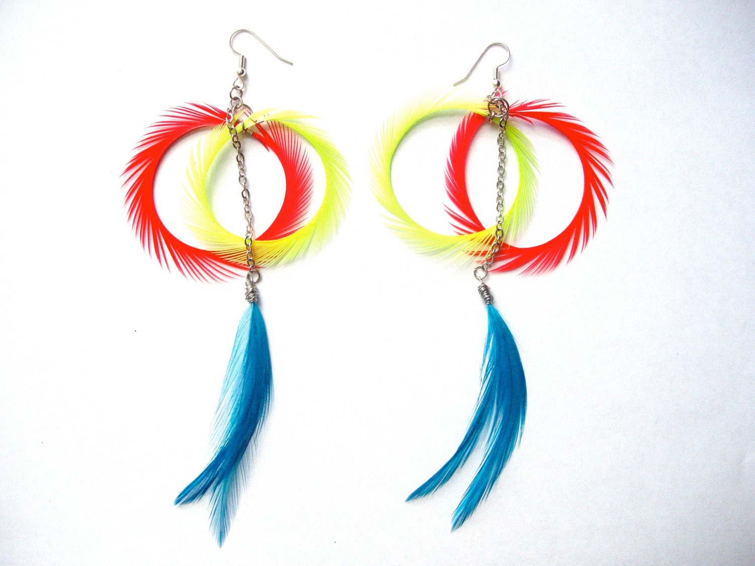 Turquoise Orange Lime Green Feather Dangle Earrings - LaNomRahDesigns