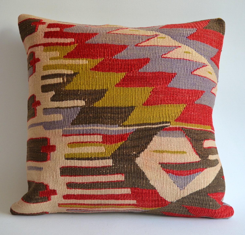 Sukan / Organic Shine Society Modern Bohemian Throw Pillow. Handwoven Vintage Tribal Turkish Red Kilim Pillow Cover
