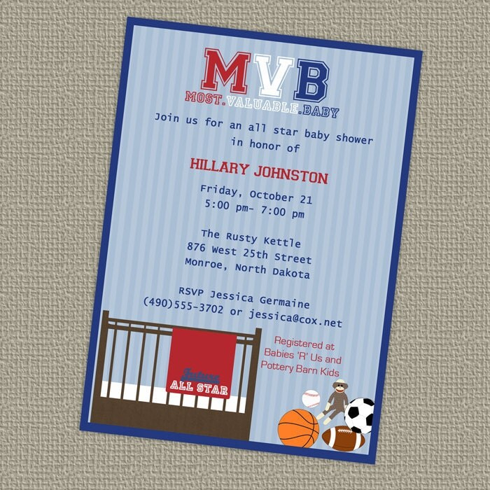 photos of sports themed baby shower invitations