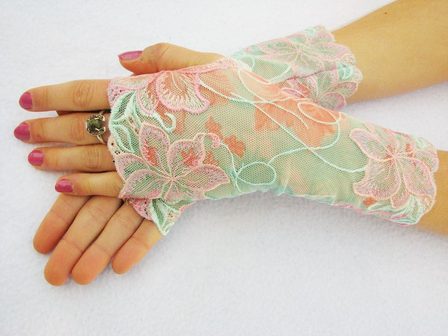 Fingerless Lace Gloves: Pastel floral,  Hawaiian Hibiscus,mint,  flowers, pink, aqua, mint, lace, Summer - SeamstressbytheSea