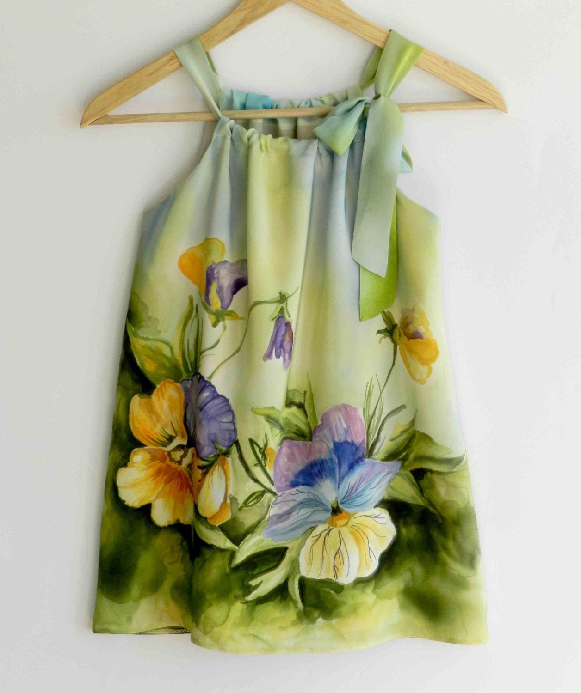 Flower silk dress hand painted for kids.Pansy hand painted dress.Pillowcase silk dress. Made to order. - ArmeniaOnSilk