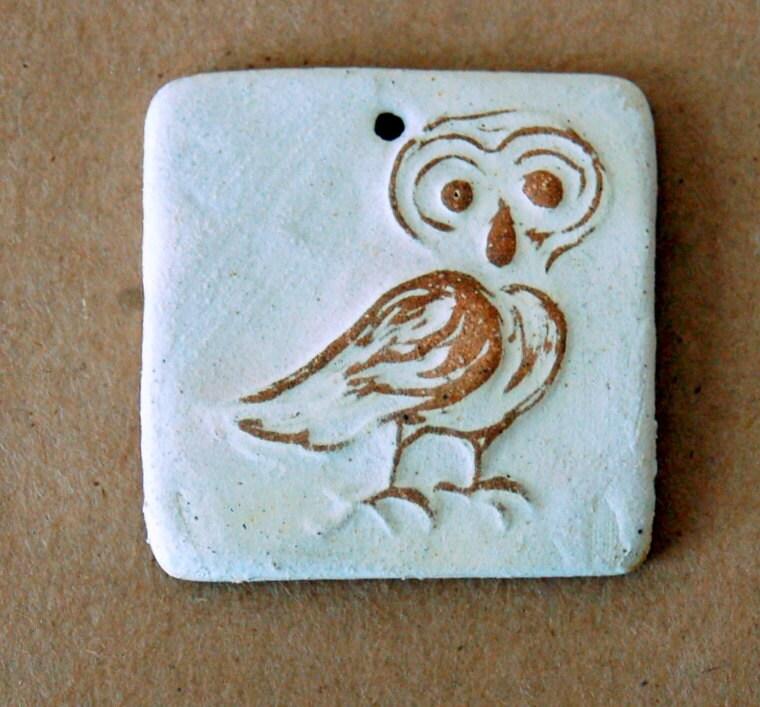 Ceramic Mini Tile Pendant Bead - Stoneware Owl Bead - beadfreaky