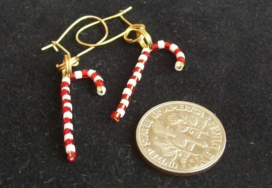 Beaded Christmas Candy Cane Earrings