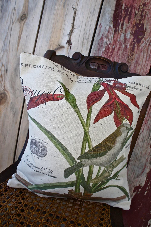 Ручной рукопечатных Чехол - 16x16-Vintage Вдохновленный коллаж Подушка - Лекси