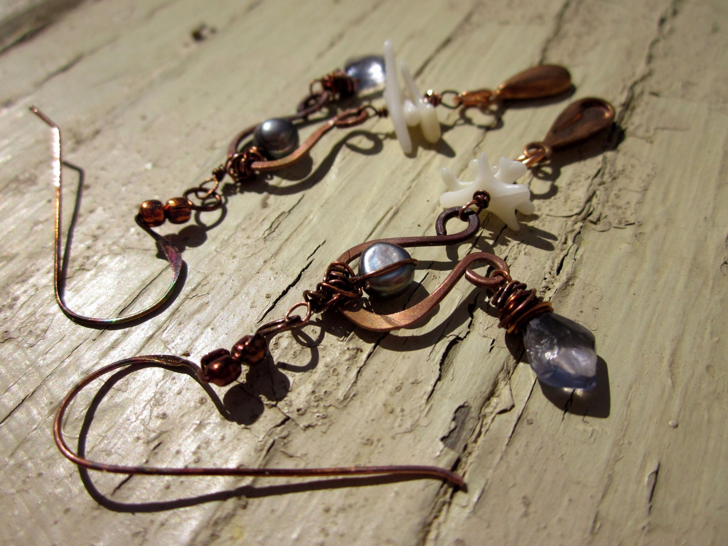 Eclectic Drop Earrings, Iolite briolette Copper wire Freshwater pearl - Mysterious Soul