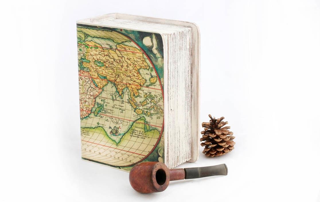 "Keepsake box,  Memory box, Book Treasury Wooden  Box, Vintage World map -  8"" x 6 "" x 3 1/2 ""( 20cm. / 15cm. /8.5cm. ) - MyHouseOfDreams"