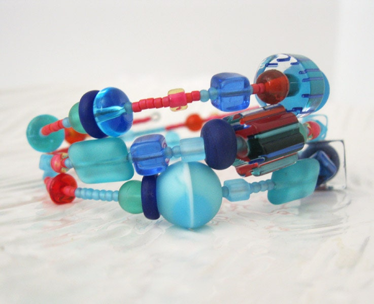 Coral Turquoise Fusion Wrap Bracelet - atelierfrost