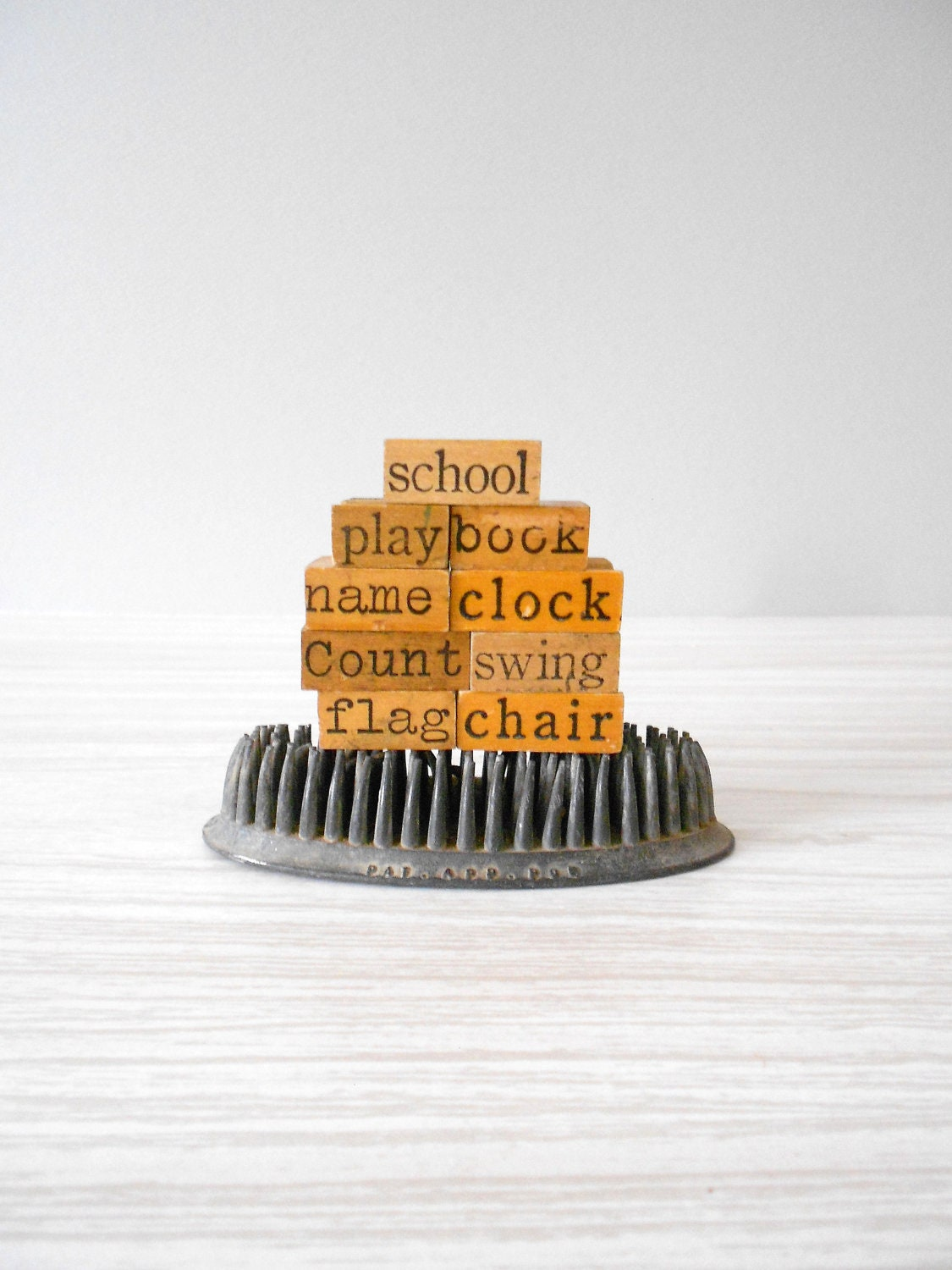 old antique Back to School wooden word letter rubber stamps // Set of 9 - simplychi