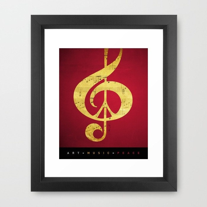 Red Gold Print, Music and Peace, Sheet Music, Artist Signed, Peace Sign,Treble Clef, Red, Black, Gold, Glamour, Under 50, Framed - Inspireuart