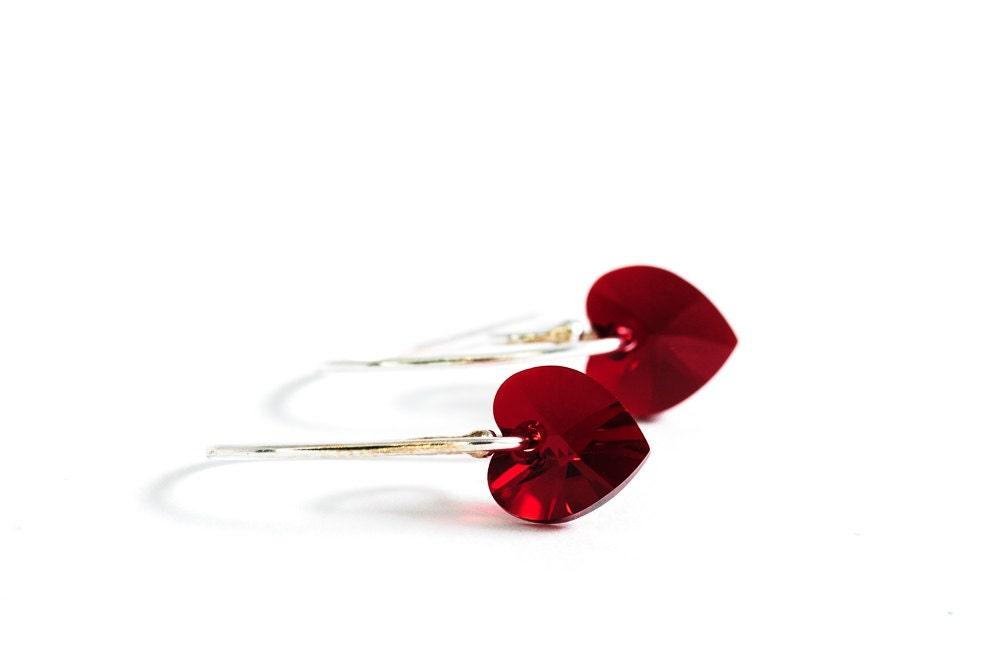 Small Red Heart Earrings Beadwork Earrings Swarovski Jewelry Romantic Gift For Her - DevikaBox