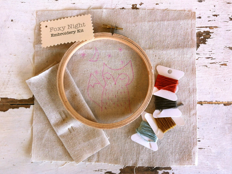 foxy night embroidery kit - dioramatist