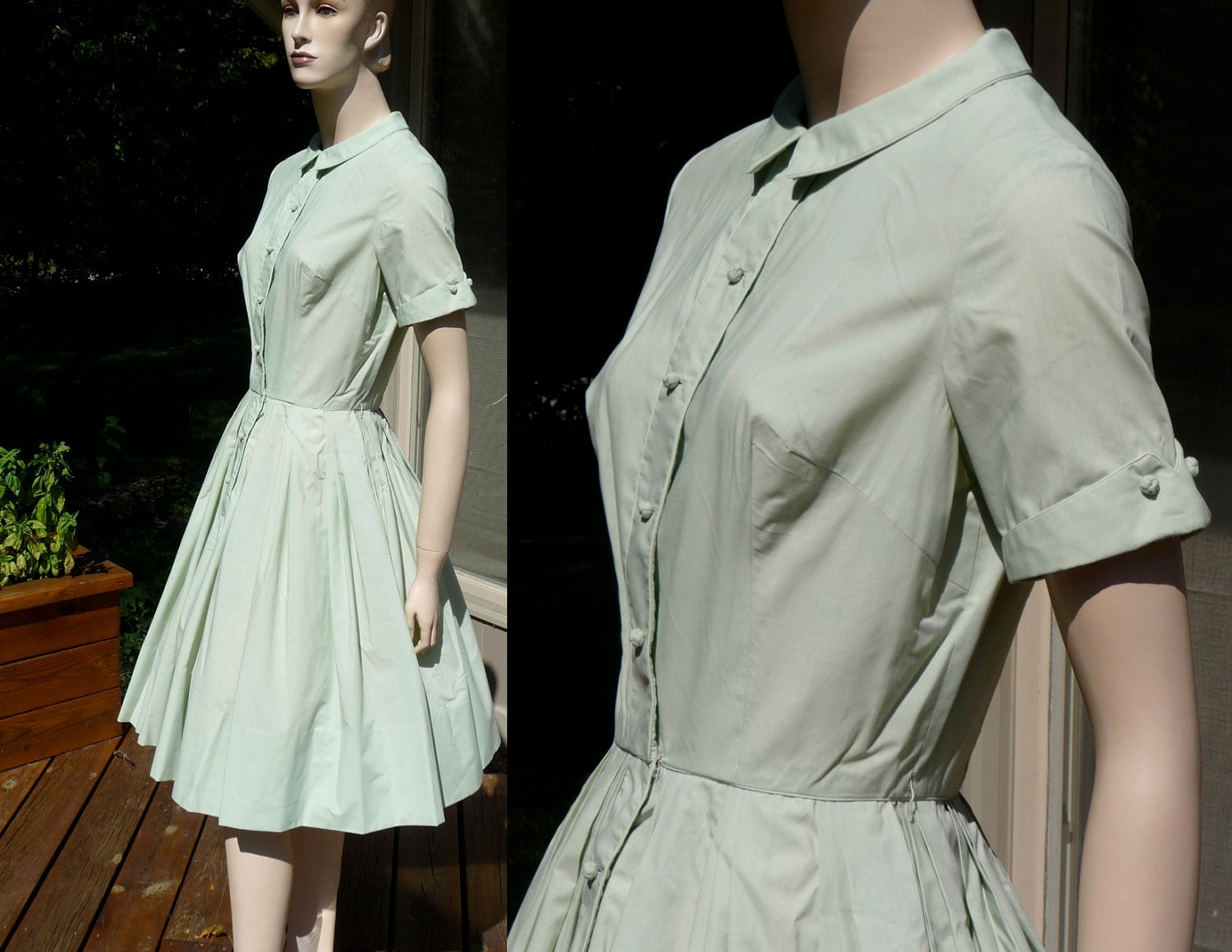 Vintage Pale Mint Green Dress, full cupcake dress from Hong Kong, medium - Sparcle