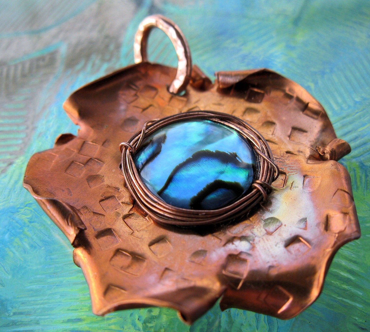 Copper & Abalone Pendant