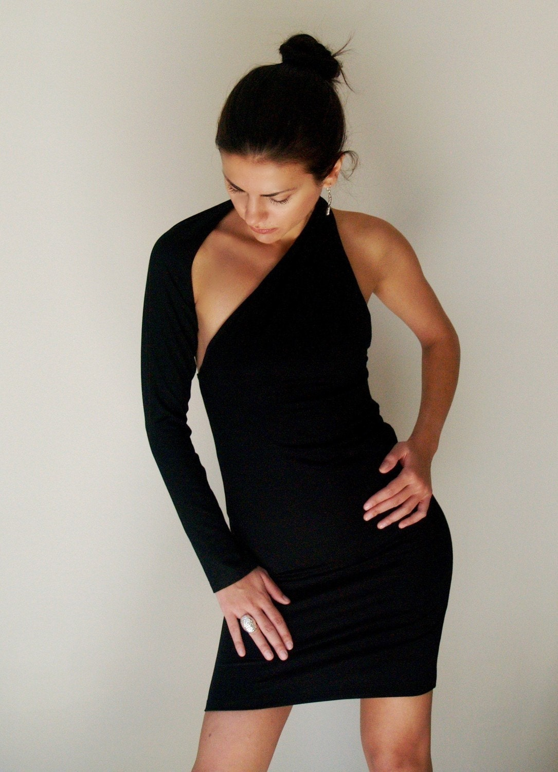 Black Party Dress Fitted One shoulder Mini Dress - Free US Shipping - Donation to UNICEF - Item MM-DRT1100B4