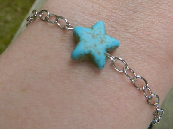 Side Turquoise Star Dainty Bracelet On Sale