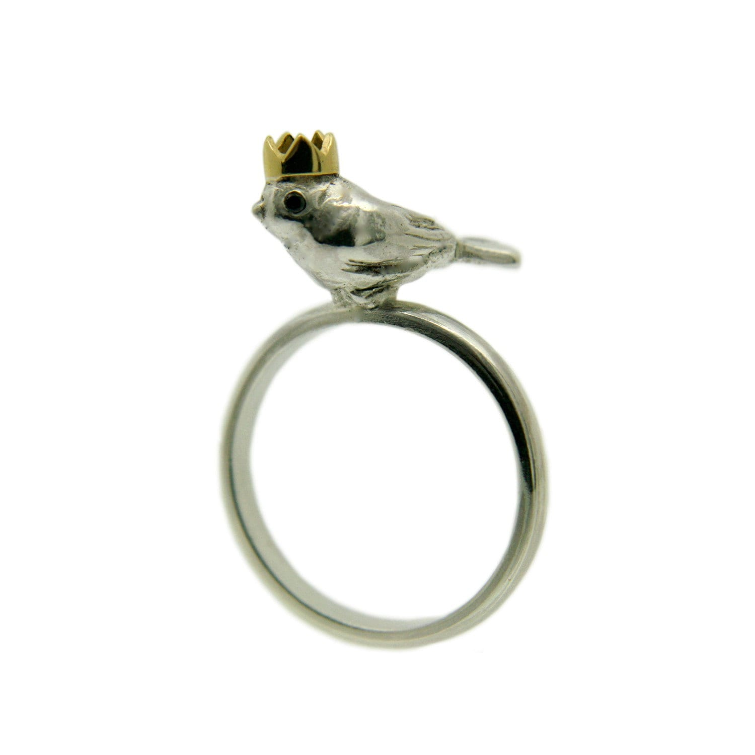 Bird King Ring. Silver with Black Diamond eyes and an 18ct Yellow Gold Crown.