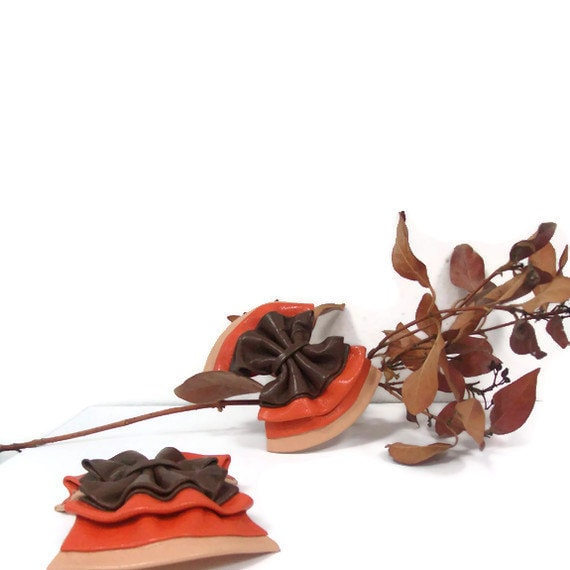 Pink,orange and brown leather shoe-clips - LunaBluandCo