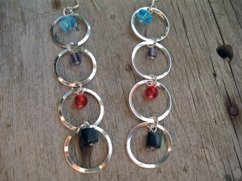 Silver Circle Colorful Beaded Long Earrings