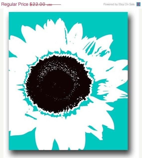 VALENTINES  SALE  25% OFF Blue background Sunflower Print