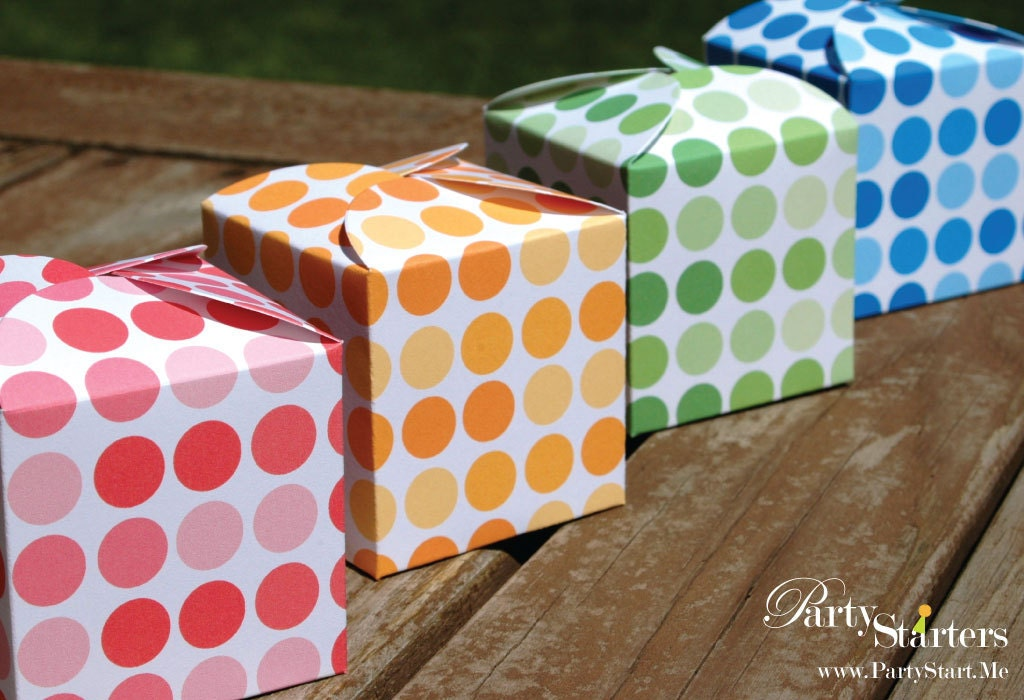 Modern Polka Dots Petal Favor Boxes Variety Pack of 12