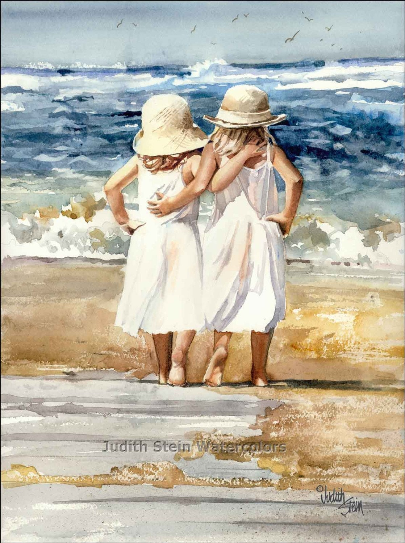 BEACH SISTERS HUG Children 11x15 Giclee Watercolor Print - steinwatercolors