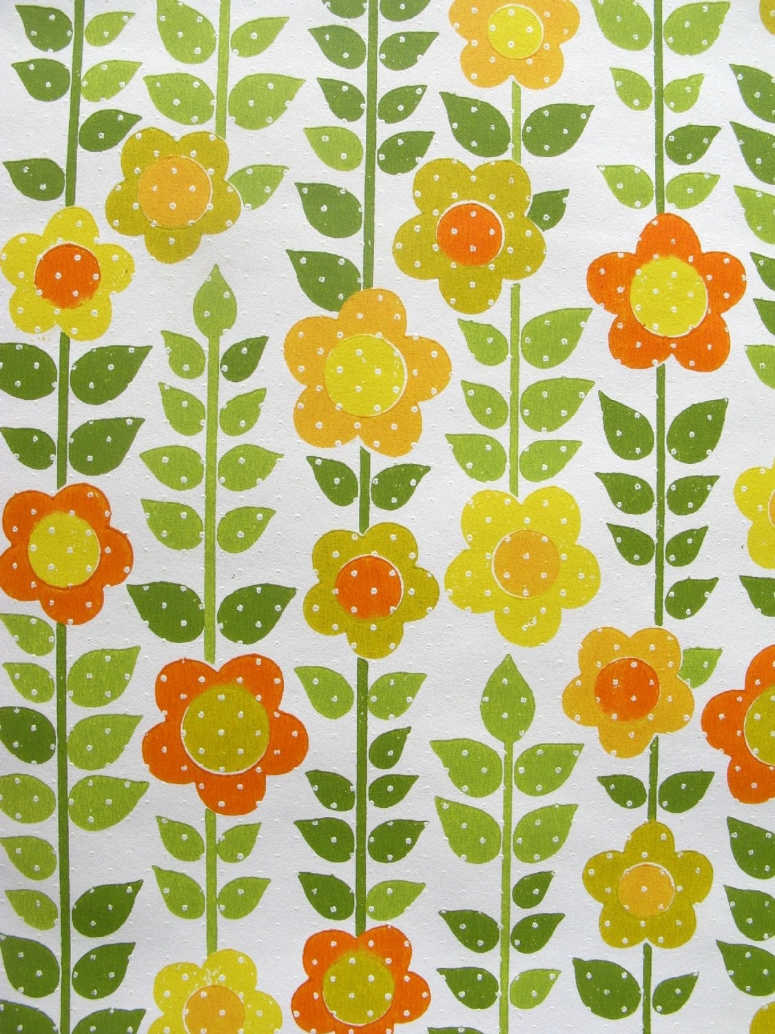 vintage wallpaper - sunny floral with dots - per half yard