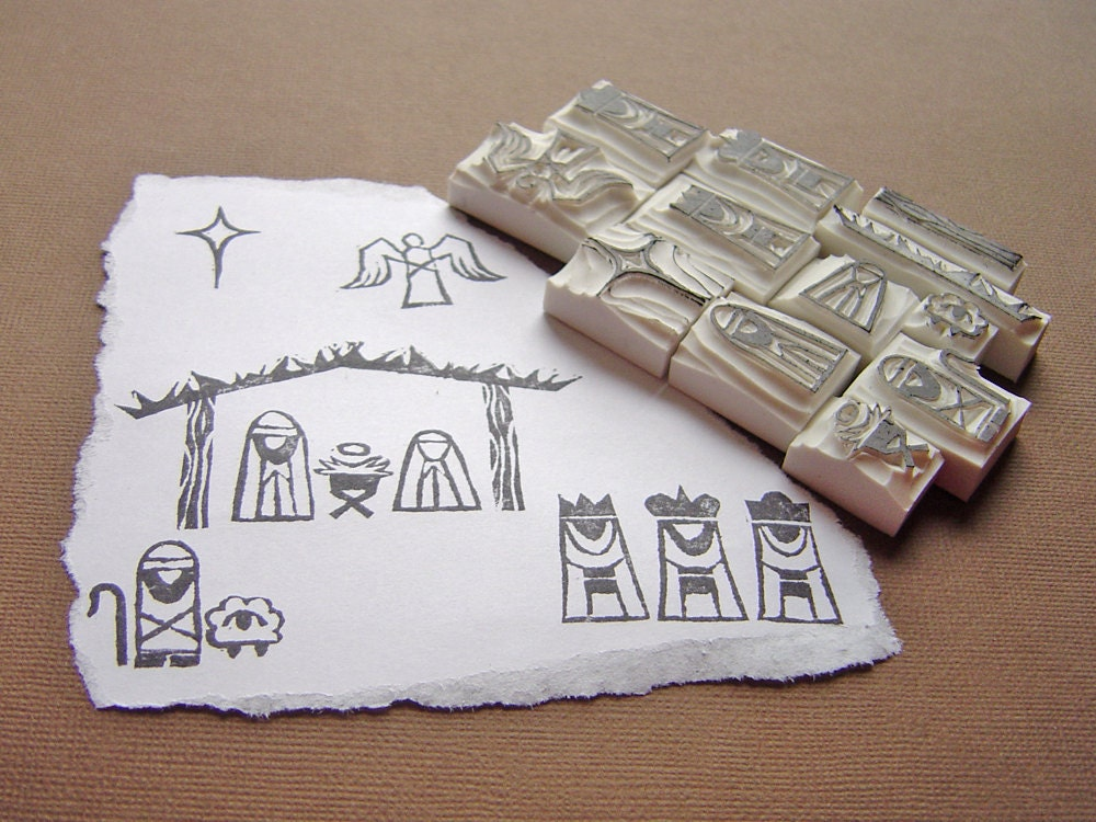NEW DESIGN - full nativity including FREE stable, a twleve-piece set - hand carved stamps