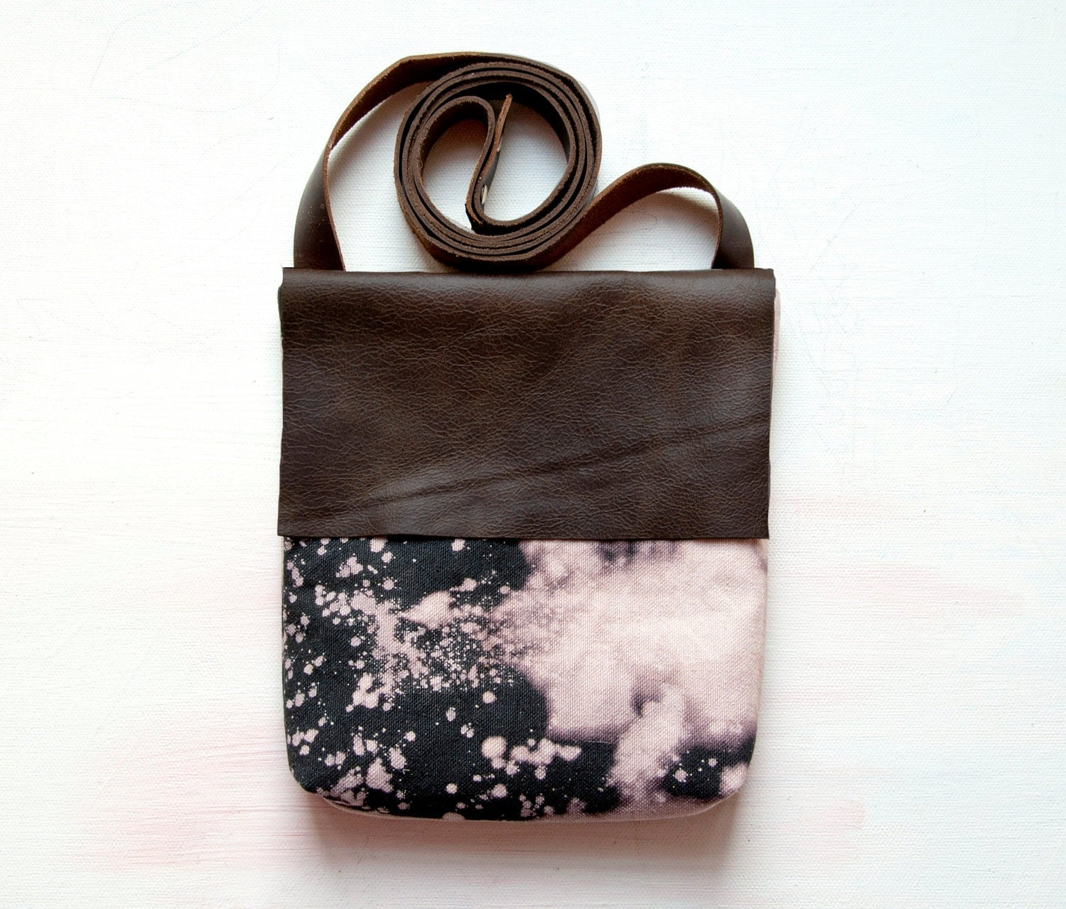 H A N D DYED and Leather Cross Body Shoulder Purse. Bleach black and Brown Leather Bag - GiftShopBrooklyn