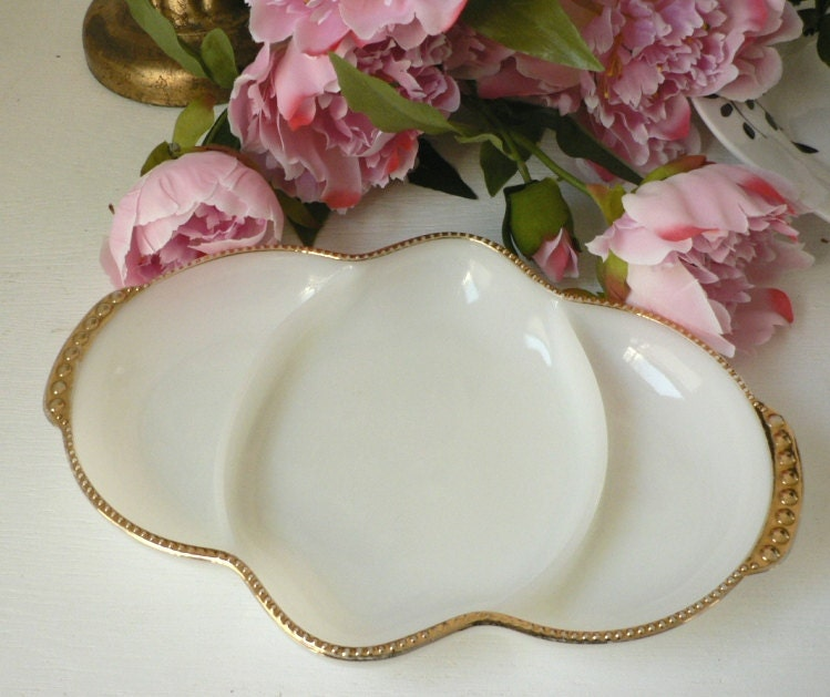 White and Gold Hollywood Regency Inspired Fire King tray